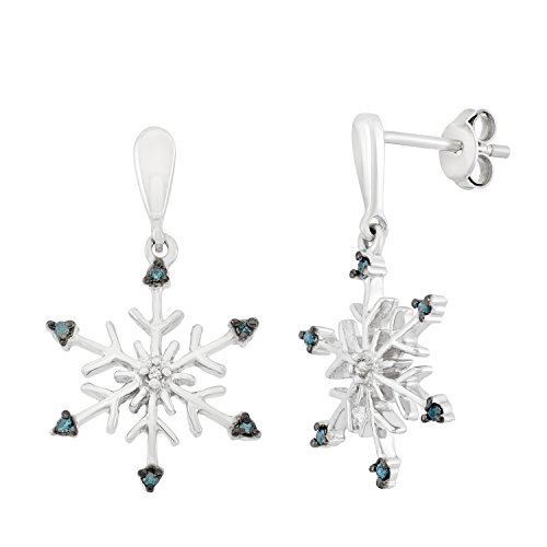 Sterling Silver, Blue and White Diamond Dangling Snowflake Earrings (1/12 CTTW)
