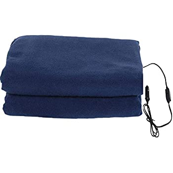 Homeself Electric Car Heating Blanket, 12 Volt Fleece Constant Temperature Anti-Overheat Blanket for SUV Vehicle Truck Boats RV, Winter Cold Weather Travel Camping Use (Navy)