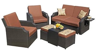 Sedona Seating Set Cushioned Wicker Sunbrella Outdoor Patio Garden, 5-Piece Sofa Ottoman Table Loveseat