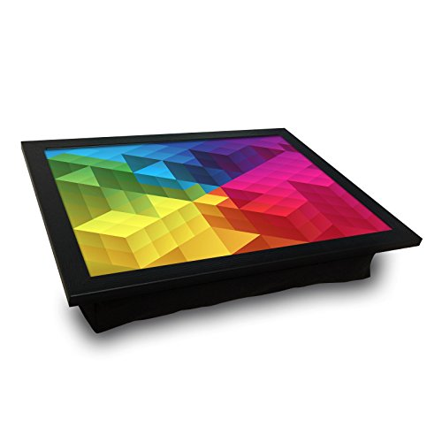 Price comparison product image LaModaHome Pixel MDF Pillow Tray - Colorful Geometrical Shapes, Cube - Pillow Cushioned Accessories, Portable Bed Stand for Notebook or Serving, Suitable for Use on Table, Sofa, Chair