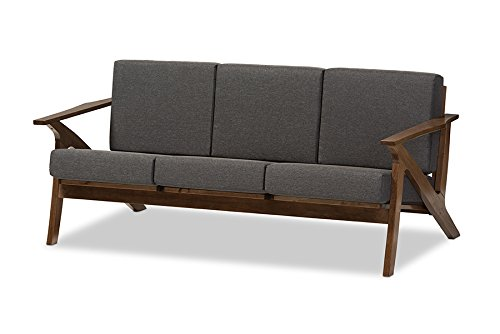 Baxton Studio Genie Mid-Century Modern Wood Grey Fabric Living Room 3-Seater Sofa, Walnut
