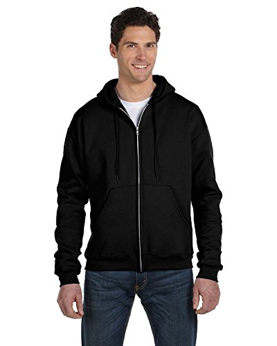 (Champion Adult 50/50 Full-Zip Hooded Sweatshirt, Black,)