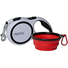 Triton Retractable Dog Leash with 16ft Reinforced Nylon Band and Collapsible Water Bowl - Lifetime Guarantee
