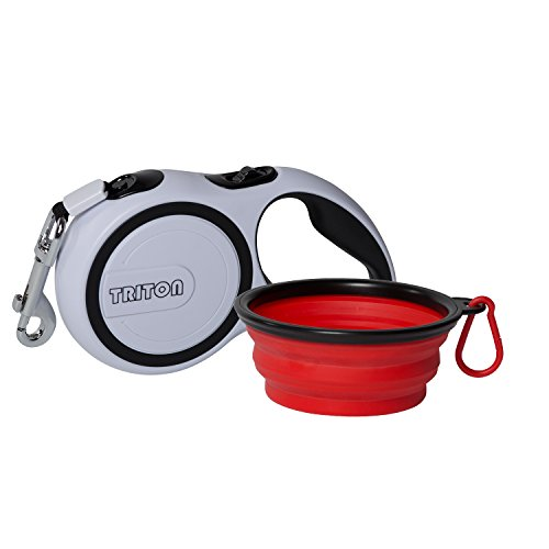 16' Snap (Triton Retractable Dog Leash with 16ft Reinforced Nylon Band and Collapsible Water Bowl - Lifetime Guarantee)