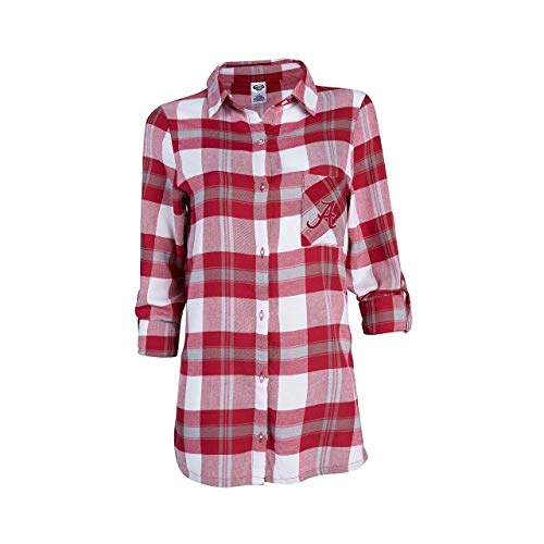 Concept Sport Alabama Crimson Tide Womens Long Sleeve Team Pride Flannel Button Up - Cardinal, Womens Small