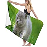 Okjtnjw Hotel & Spa Bath Towel Cats Grey Kittens Fluffy Fat Grass Beach Bath Pool Travel Towel