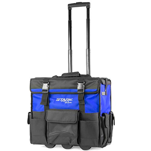Stark 20' Rolling Wide Mouth Tool Bag Tote Telescoping Handle Tool Organizer Heavy Duty with Wheel and Divider, Blue