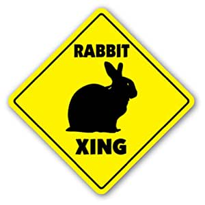 RABBIT CROSSING Sign bunny xing cage pet lover gift