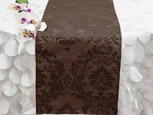 Mikash 12 x 108 Flocked Taffeta Table TOP Runners Damask Wedding Party Decorations | Model WDDNGDCRTN - 13780 | ()