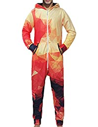 f8babe1dd7 Men Winter Warm Hooded Geometric Zip-Front One Piece Onesie Pajamas Jumpsuit