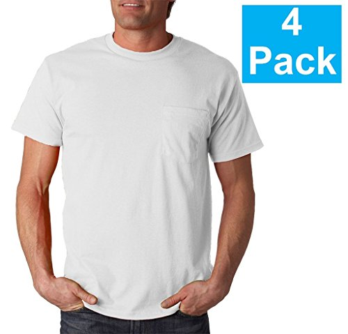 Fruit of the Loom Mens 4Pack White Pocket Crewneck T-Shirts Undershirts (Neck Pocket)