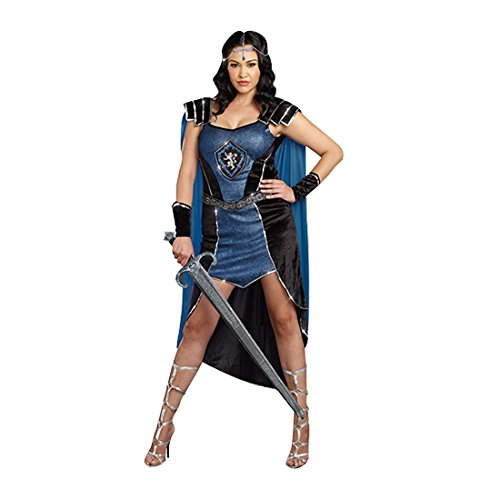 King Slayer Costume (Dreamgirl Women's Plus-Size King Slayer Royal Warrior Costume, Blue, 1X/2X)