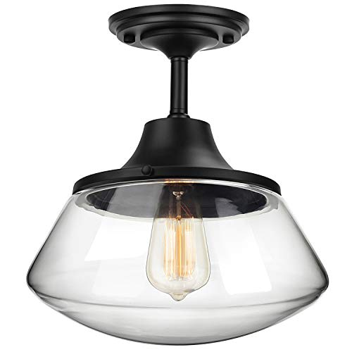 Petronius Industrial Semi Flush Mount Ceiling Light, Farmhouse Lighting Clear Glass Pendant Lighting Shade, Edison Vintage Style Hanging Lights Fixture(An Incandescent Bulb Included)