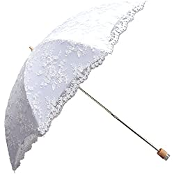Honeystore 2 Fold Wedding Embroidery Lace Sun Parasol Umbrella Bridal Decoration White
