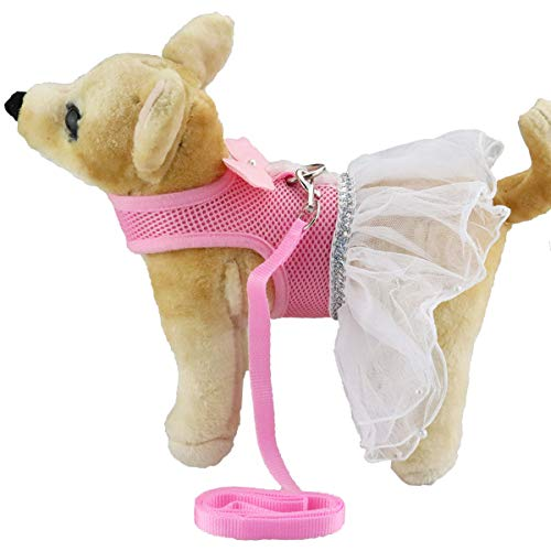 Xs Harness Dress - Pink Dog Cat Vest Harness and Leash Tutu Skirt Dress for Small Dogs Girl (Angel Wings, S2)