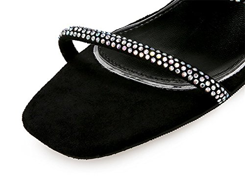 34 38 Épais Talon Nvxie Open Black De D'été Strass Femmes Carrée toe Sandales Chaussures Sexy Tête 8OPkn0Xw