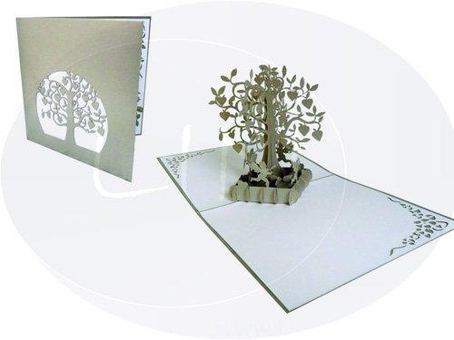 LIN - Pop Up Biglietto d'auguri per la nozze d'argento, Albero con cuori LIN ArtDesign 17164