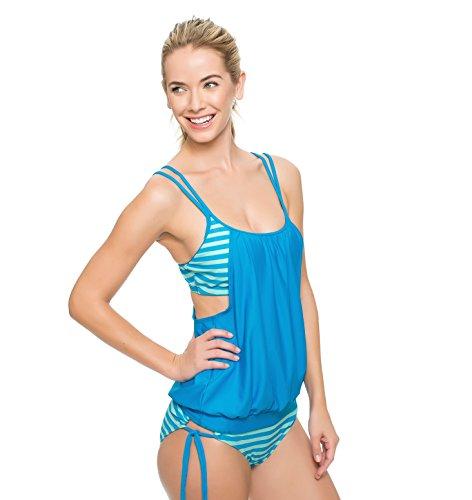 Aschoen - Bikini de rayas y traje de baño azul claro