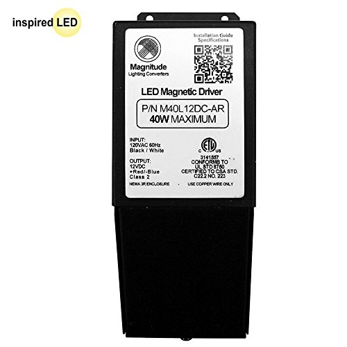 12V Magnitude Magnetic Dimmable LED Driver Transformer Hardwired Under Cabinet Lighting 40 Watt - Inspired LED