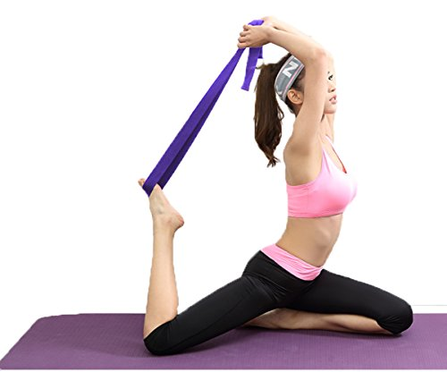 Gelante Fitness Exercise Yoga Strap - Durable Cotton 10 Feet Long Metal D-Ring 2034-Black/Royal