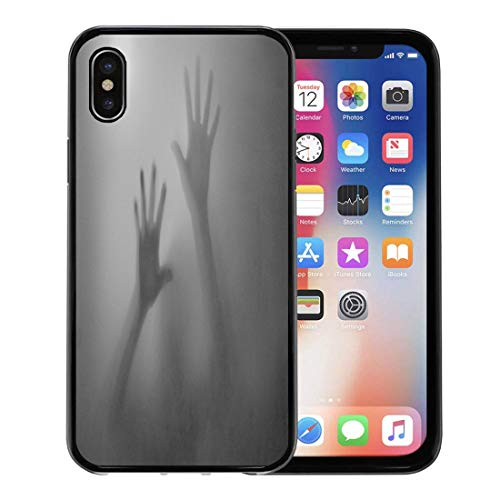 Semtomn Phone Case for Apple iPhone Xs case,Horror Shadow of Hands Behind Frosted Glass Scary Silhouette Abuse for iPhone X Case,Rubber Border Protective Case,Black -