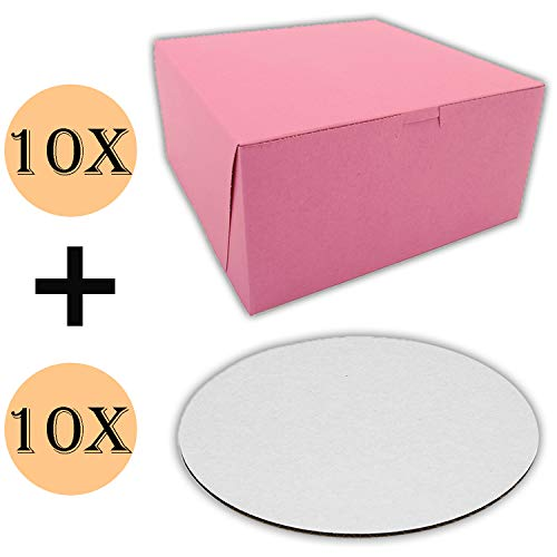 Cake Boxes 10 x 10 x 5 and Cake Boards 10 Inch,Cake Box is Pink, Cake Board is Round, Cake Supplies, 10 Pack of Each.
