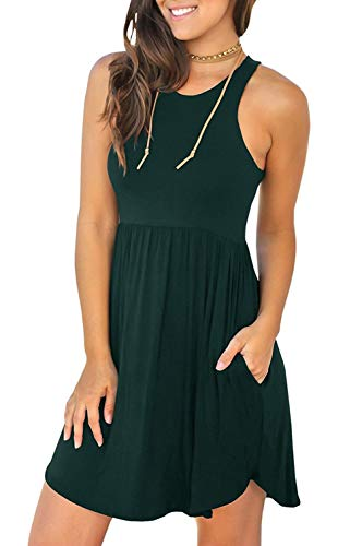 Unbranded* Women's Sleeveless Loose Plain Dresses Casual Short Dress with Pockets Dark Green Medium