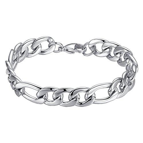 Mens Stainless Steel 9mm Width Figaro Chain Link Bracelet