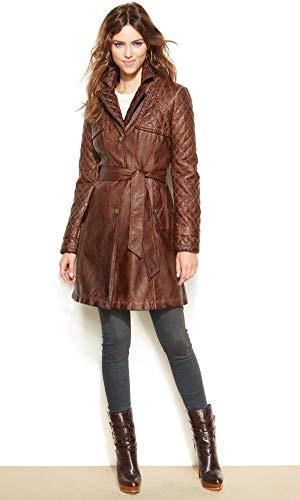 Leather Hubb Women's Leather Trench Coat for Women New Zealand Lambskin Leather Walking Coat Dewberries ()