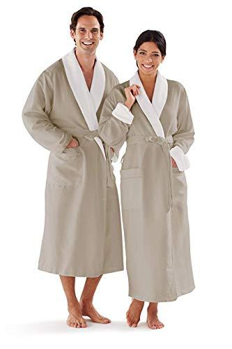 Boca Terry Women's and Men's Robe, Plus Size Luxury Microfiber Sage Bathrobe, XXXXL