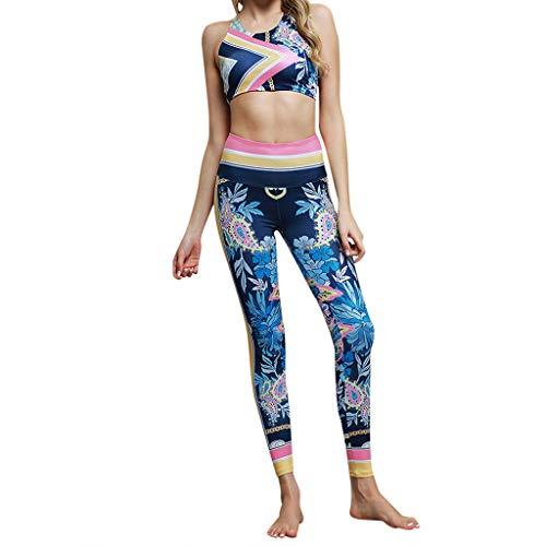 Oasisocean Women 2 Piece Yoga Suit Crop Top Pants Leggings Set Activewear Gym Running Outfit Sports Wear Blue