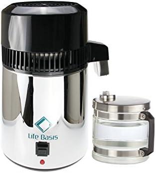 LifeBasis Destilador de Agua Casero Doméstica Acero Inoxidable Water Distiller Purificador Filtro para Hacer Agua Desmineralizada Destilada Eficacia con Jarra Cristal de 4L: Amazon.es: Hogar