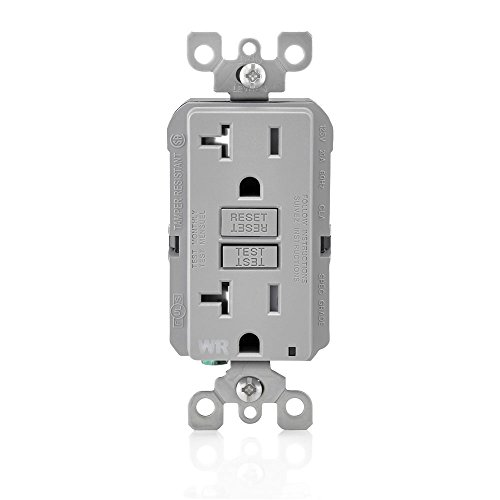 Leviton GFWT2-GY Self-Test SmartlockPro Slim GFCI Weather-Resistant and Tamper-Resistant Receptacle with LED Indicator, 20 Amp, Grey ()