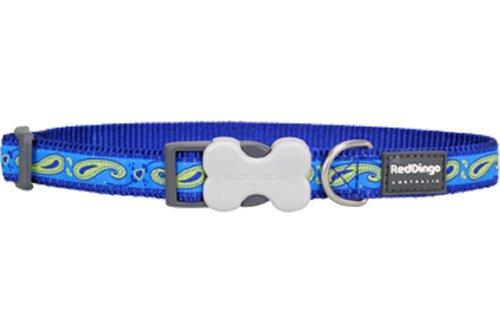 Red Dingo Designer Dog Collar, Medium, Paisley Green and Blue