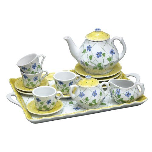 Polka Dot Tea Plates - Andrea By Sadek Yellow Polka Dot 18 Piece Child's Tea Set