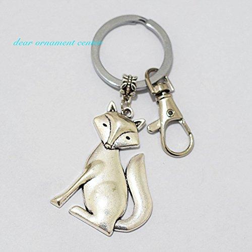 Fox Keychain (Fox Keychain , Silver Fox Keychain Fox Jewelry Charm Keychain)