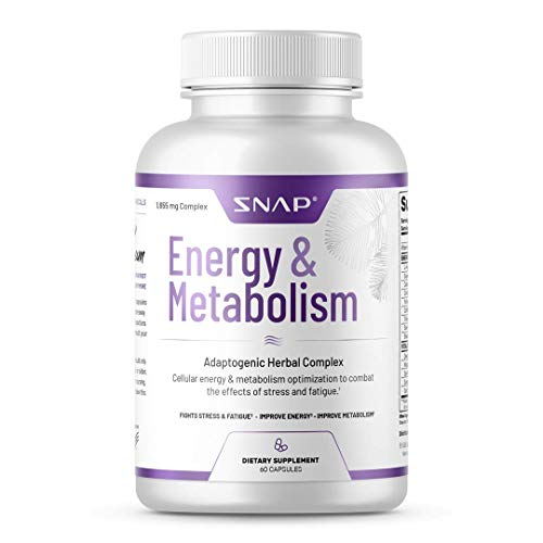 Energy  Metabolism Adaptogenic Herbal Complex by Snap Supplements - Improves Natural Energy, Supports Weight Control, Memory, Fat Burn, and Combats The Effects of Stress and Fatigue, 60 Capsules