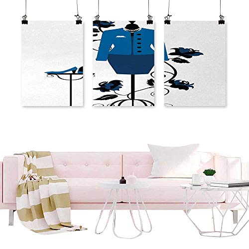 branddy Prints Canvas Art Home Decors Heels and Dresses,Mannequin in Tailors Shop with Blooming Flower Retro Classical,Blue Black White Calligraphy Paintings for Kitchen Vintage