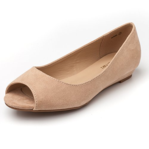 DREAM PAIRS Women's Dories Nude Suede Low Wedge Peep Toe Flats Shoes Size 5.5 M - Comfort Wedge Low Peep Toe