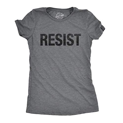 Womens Resist Tee United States of America Protest Rebel Political T Shirt (Grey) -