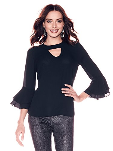 New York & CO. Women's Soho - Ruffled-Cuffs Choker Blouse Large - York Soho Stores New