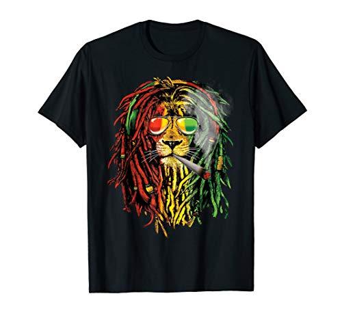Reggae Music Weed lovers shirt Smoking Jamaican royal lion  T-Shirt (Best Music For Smoking Weed)