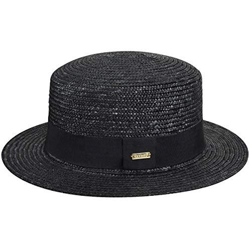 Kangol Men's Wheat Braid Boater, Black, XL - Kangol Straw Braid