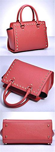 Bolsos de señora Vaca Xinmaoyuan murciélagos remaches hombro bolsos de señora, Luz Azul Rojo