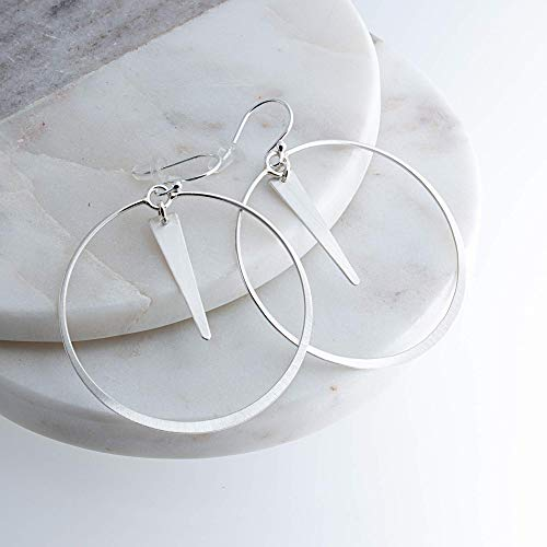 (Large Flattened Circle Ring of Matte Sterling Silver Hoop Earrings with Trapezoid Component Drop SS-D43M-DropMatteTrap)