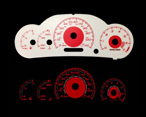 Brand New White Face Red Indigo Reverse Glow Gauges For 00-05 Chevy Cavalier w/ Tach (I-456rd)