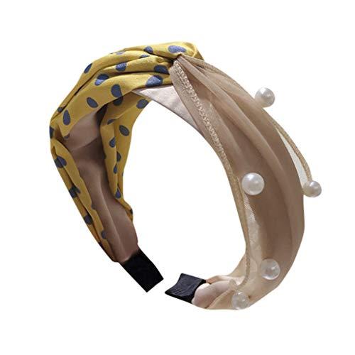 Yliquor Fashion Headbands Bow Knot Turban Headband Hair Band Polka Dot Contrast Color Beading Cross Women Hair Head Hoop Girls Headwrap Headband Accessories