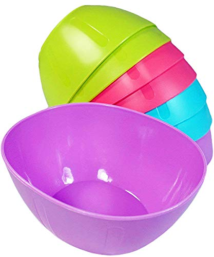 KSEV 8 Pack Mini Hard Plastic Serving Baby Bowls Set - 12oz, [BPA FREE] Microwavable | Dishwasher Safe, Great for Kids Toddlers Portion Control, Chips, Snack, Dish, Dip, Candy bowls ()