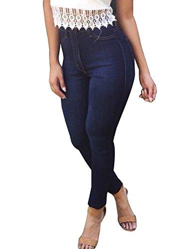 Jeans Azul De Elasticos Mezclilla Pantalones Vaqueros Marino Skinny Pantalones Denim Casual La Mujeres Lápiz 7vvAn