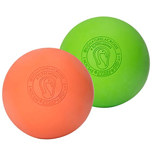 Signature Lacrosse Massage Ball Set Great for Myofascial Release, Trigger Point Therapy, Muscle Knots, and Yoga Therapy - Firm Rubber Scientifically Designed for Durability (Orange/Green)